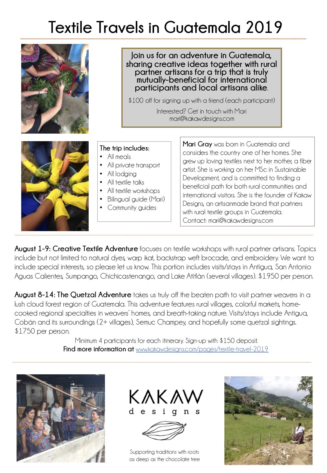 Textile Travels Guatemala 2019 info